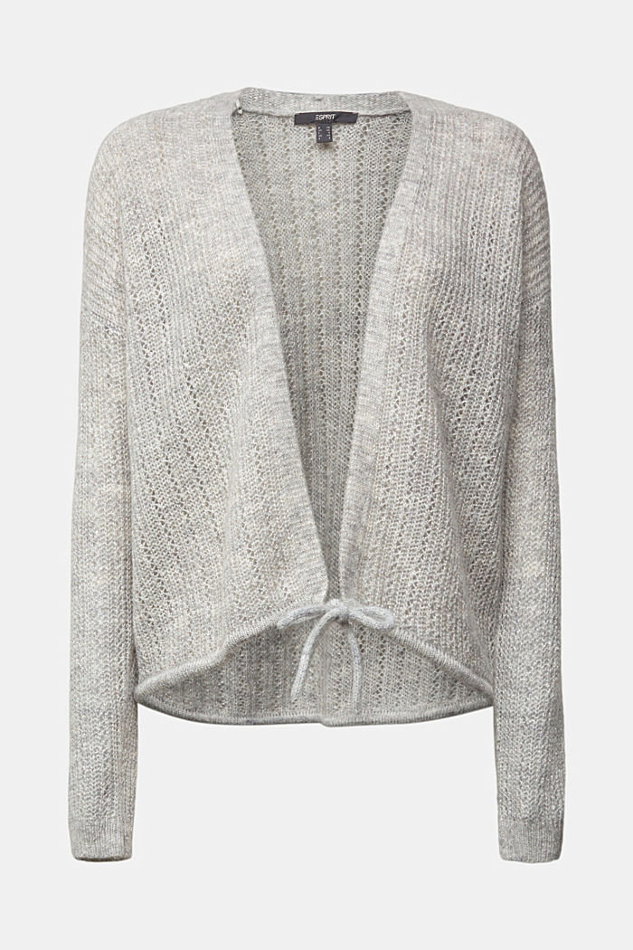 With wool and alpaca: open cardigan, LIGHT GREY, detail image number 6