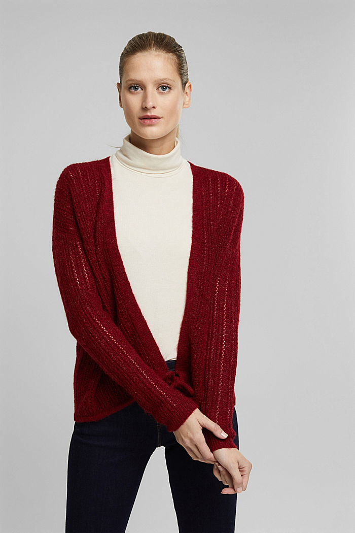 With wool and alpaca: open cardigan, DARK RED, detail image number 0