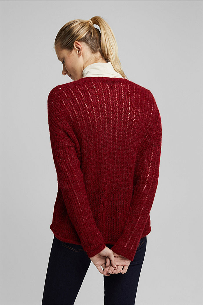 With wool and alpaca: open cardigan, DARK RED, detail image number 3