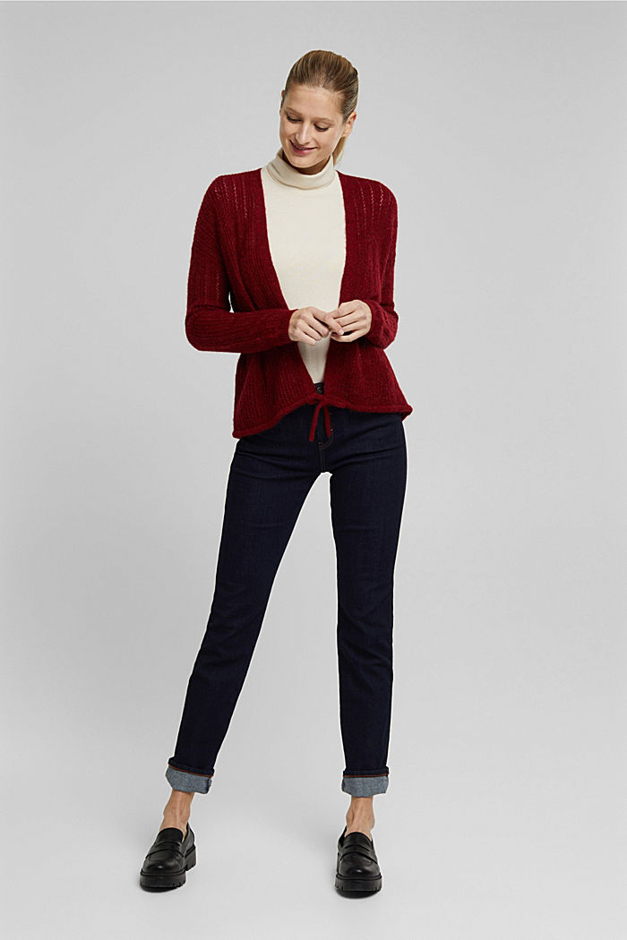 With wool and alpaca: open cardigan, DARK RED, detail image number 1