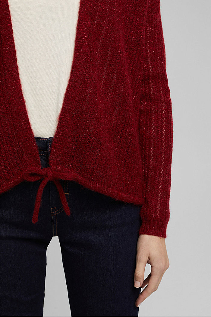 With wool and alpaca: open cardigan, DARK RED, detail image number 2
