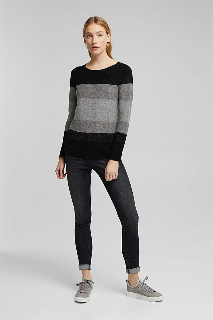 Cashmere blend: striped jumper, BLACK, detail image number 6