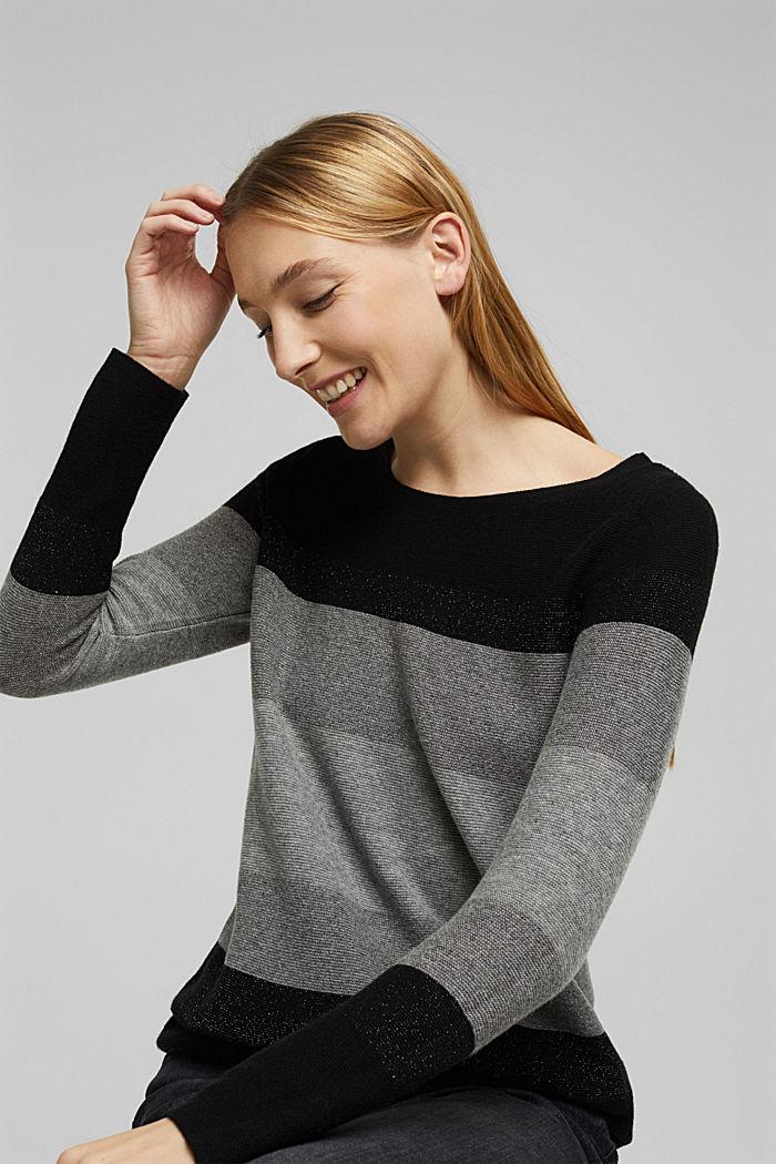 Cashmere blend: striped jumper, BLACK, detail image number 5