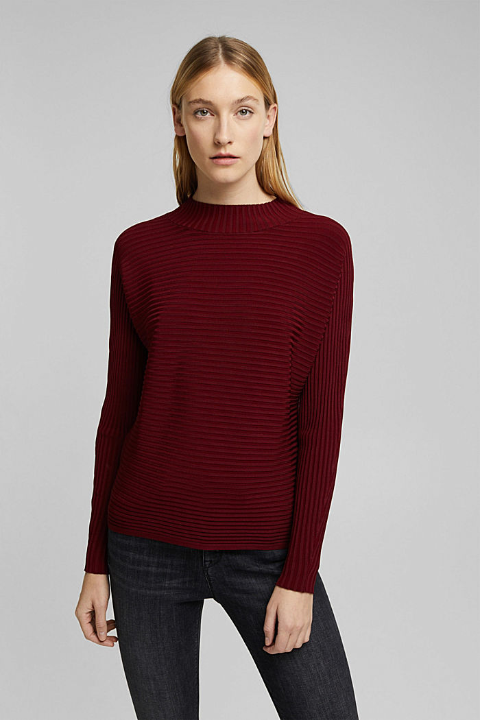 Jumper with a ribbed texture, DARK RED, detail image number 0