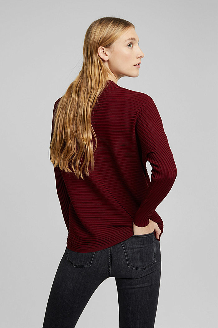 Jumper with a ribbed texture, DARK RED, detail image number 3