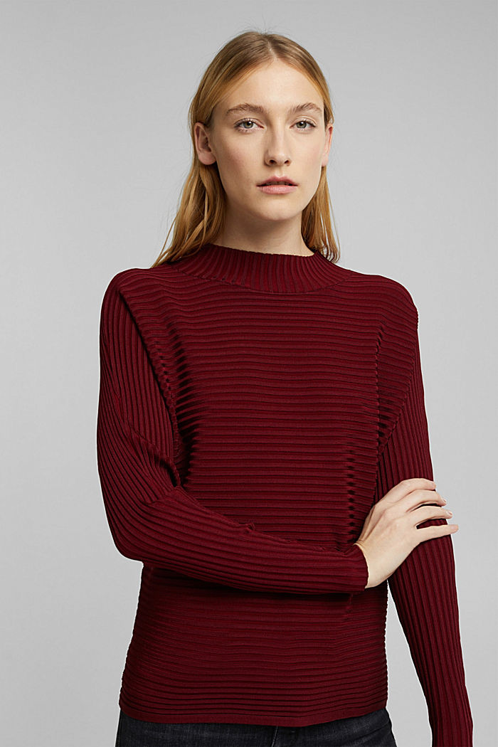 Jumper with a ribbed texture, DARK RED, detail image number 5