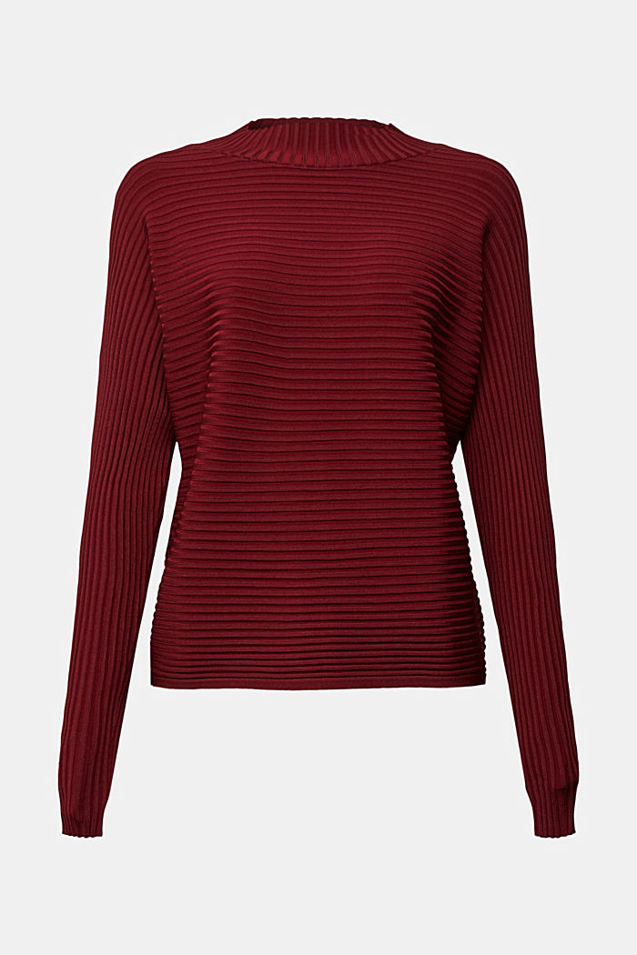 Jumper with a ribbed texture, DARK RED, detail image number 6