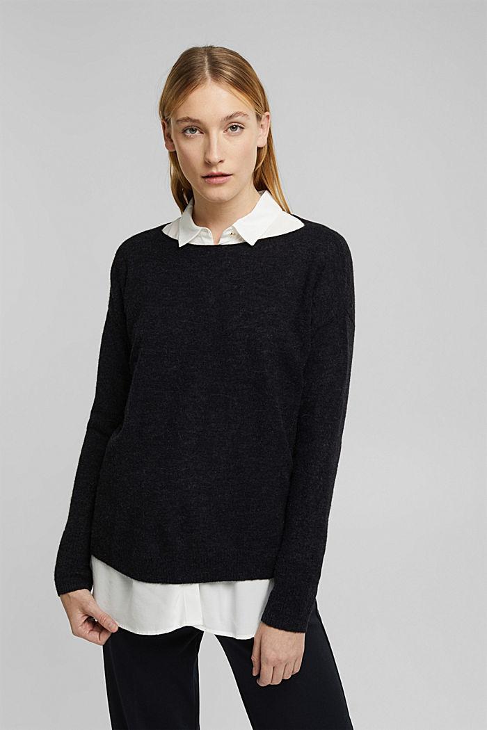 Wool and alpaca blend: jumper with bateau neckline, BLACK, detail image number 0