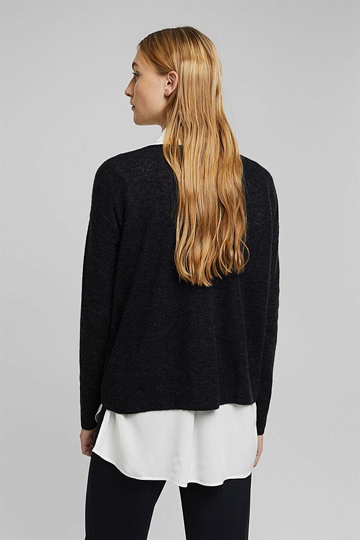 Wool and alpaca blend: jumper with bateau neckline, BLACK, detail image number 3