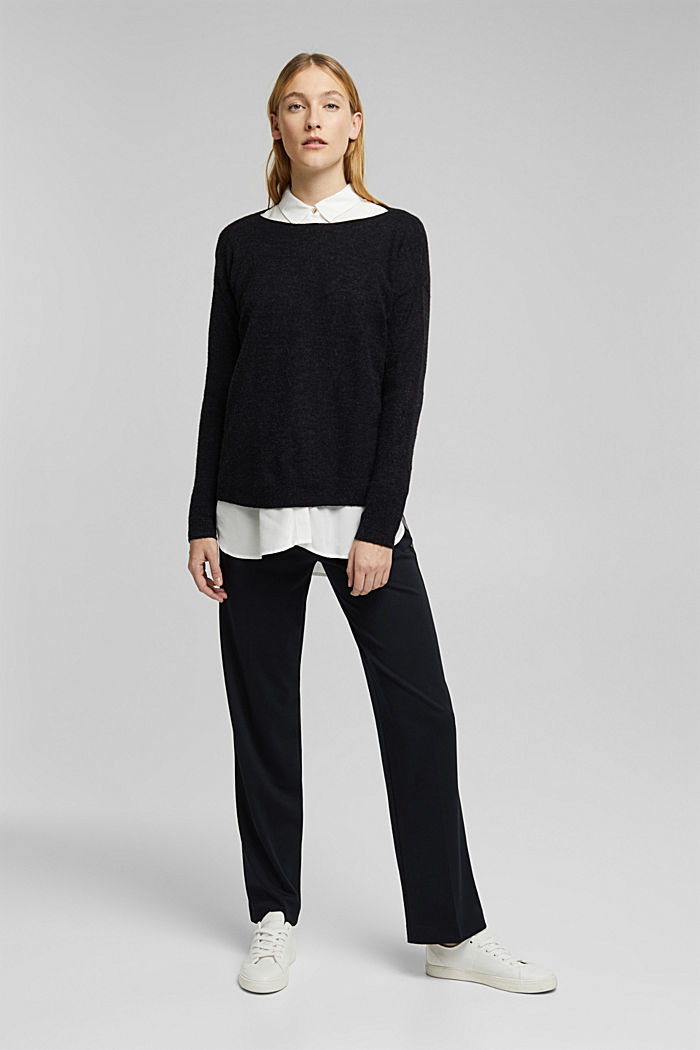 Wool and alpaca blend: jumper with bateau neckline, BLACK, detail image number 5