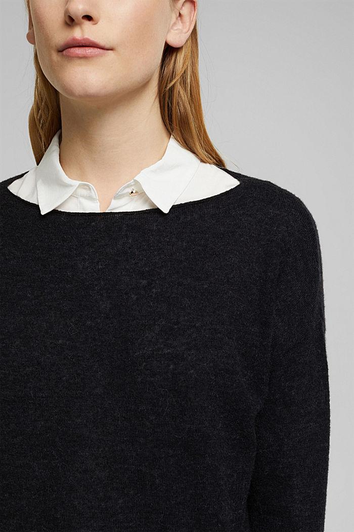 Wool and alpaca blend: jumper with bateau neckline, BLACK, detail image number 2