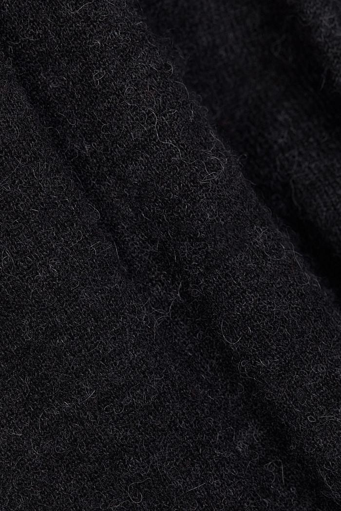 Wool and alpaca blend: jumper with bateau neckline, BLACK, detail image number 4
