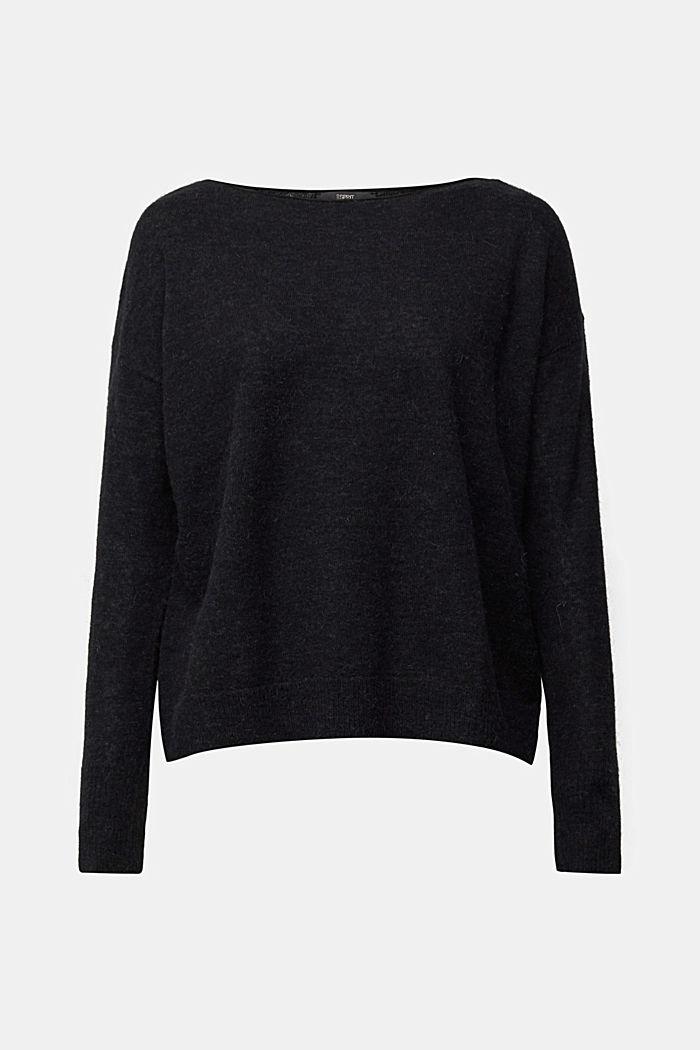 Wool and alpaca blend: jumper with bateau neckline, BLACK, detail image number 6