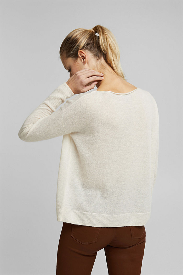 Wool and alpaca blend: jumper with bateau neckline, OFF WHITE, detail image number 3