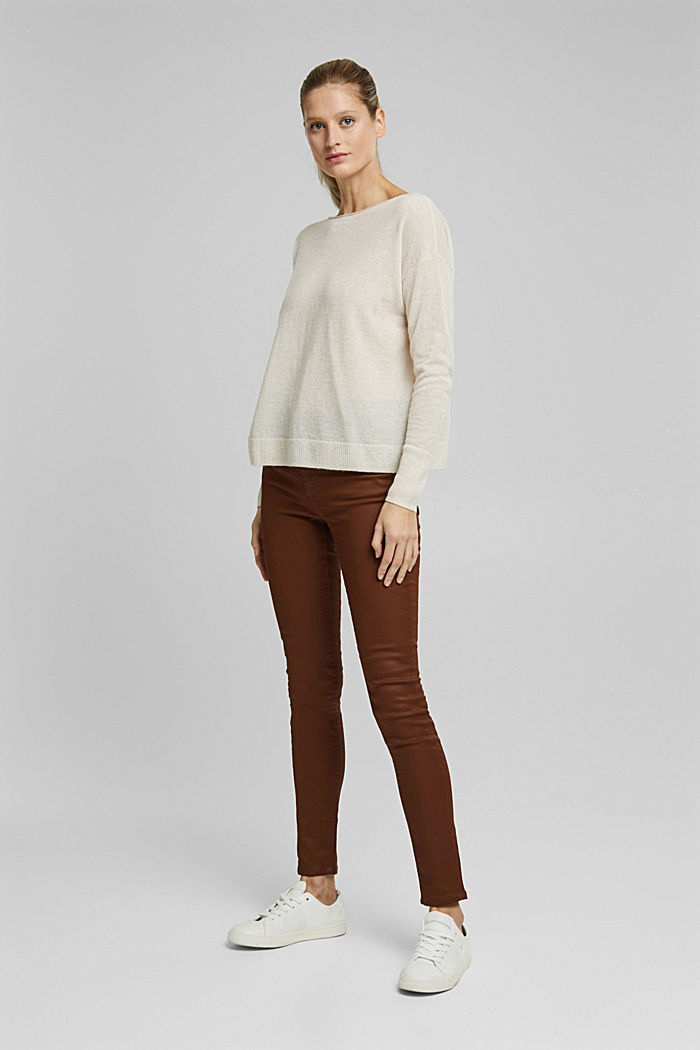 Wool and alpaca blend: jumper with bateau neckline, OFF WHITE, detail image number 6