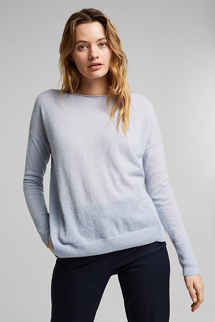 Wool and alpaca blend: jumper with bateau neckline