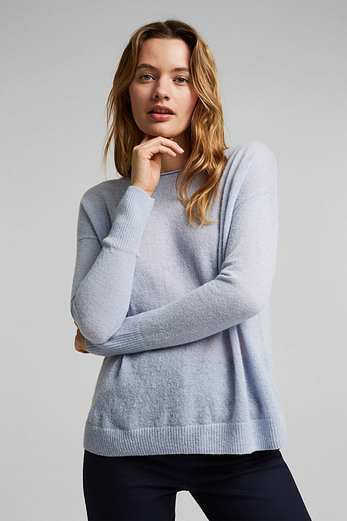 Wool and alpaca blend: jumper with bateau neckline, PASTEL BLUE, detail image number 5
