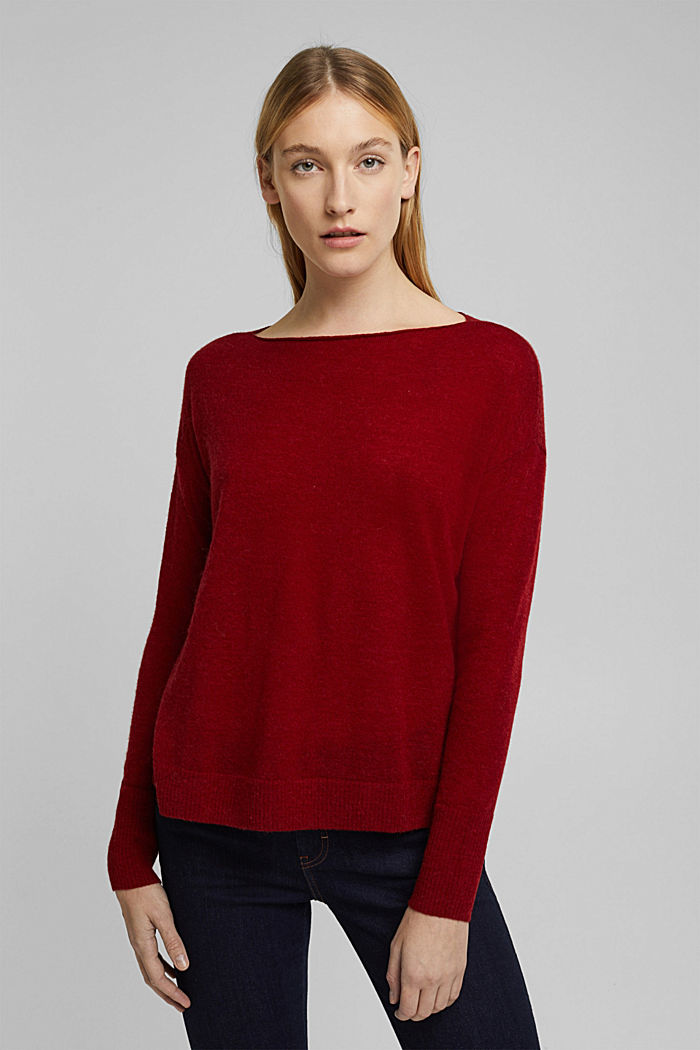 Wool and alpaca blend: jumper with bateau neckline, DARK RED, detail image number 0