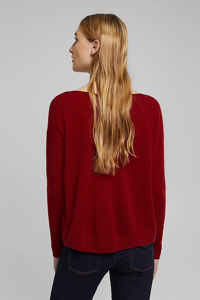 Wool and alpaca blend: jumper with bateau neckline, DARK RED, detail image number 3