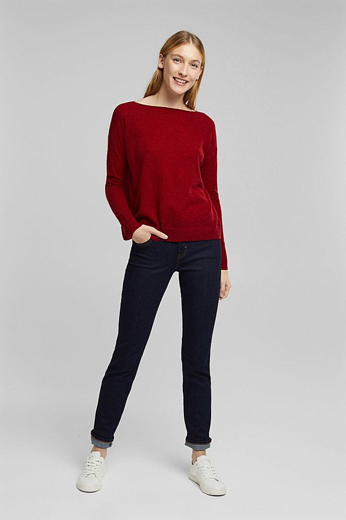 Wool and alpaca blend: jumper with bateau neckline, DARK RED, detail image number 5