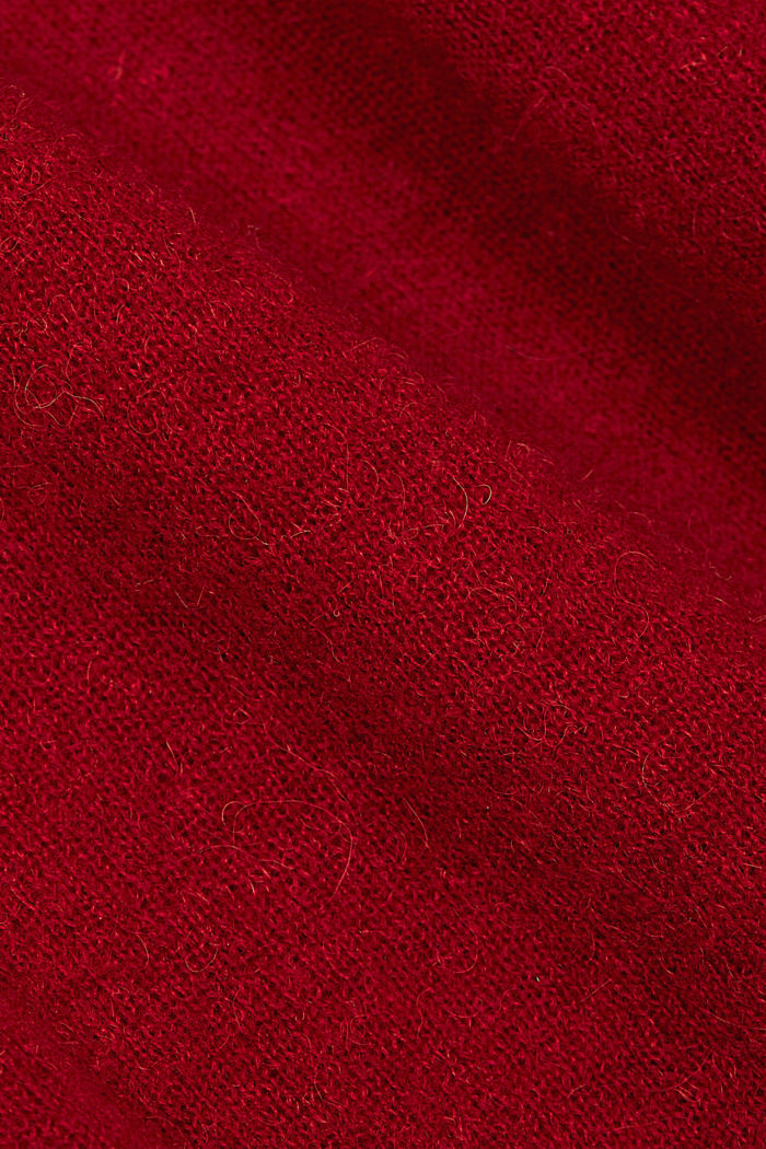 Wool and alpaca blend: jumper with bateau neckline, DARK RED, detail image number 4