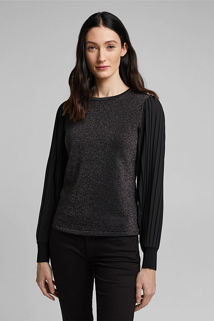 Jumper with pleated chiffon sleeves, BLACK, detail image number 0