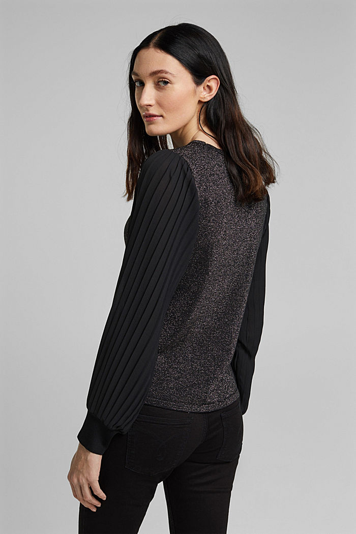Jumper with pleated chiffon sleeves, BLACK, detail image number 3