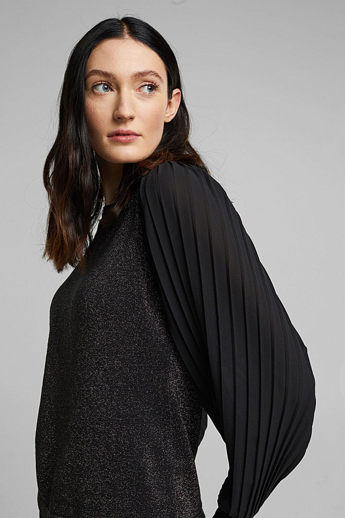 Jumper with pleated chiffon sleeves, BLACK, detail image number 5