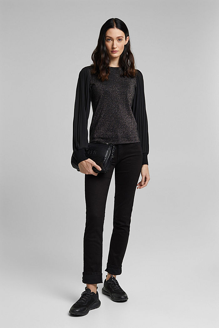 Jumper with pleated chiffon sleeves, BLACK, detail image number 1