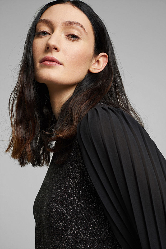 Jumper with pleated chiffon sleeves, BLACK, detail image number 6