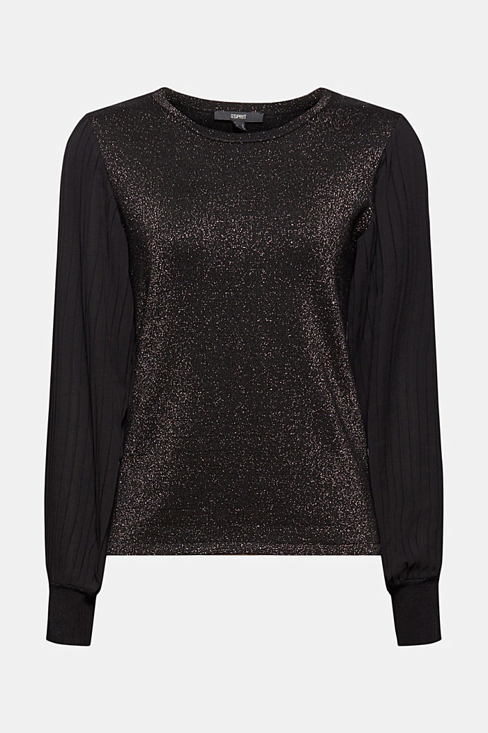 Jumper with pleated chiffon sleeves, BLACK, detail image number 7