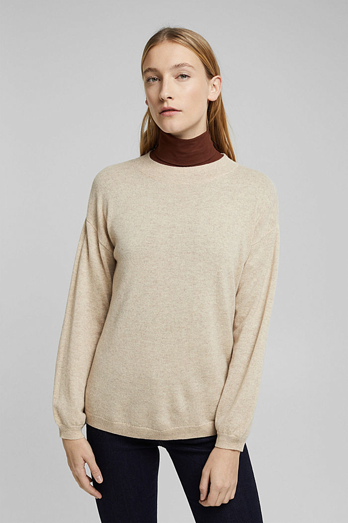 100% cashmere: jumper with balloon sleeves, BEIGE, detail image number 0
