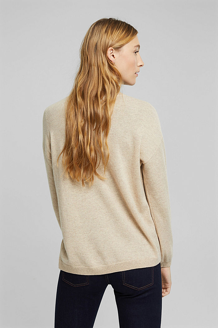 100% cashmere: jumper with balloon sleeves, BEIGE, detail image number 3