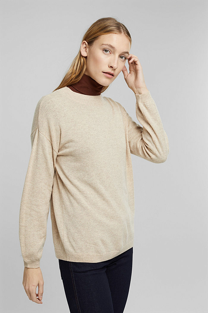 100% cashmere: jumper with balloon sleeves, BEIGE, detail image number 5