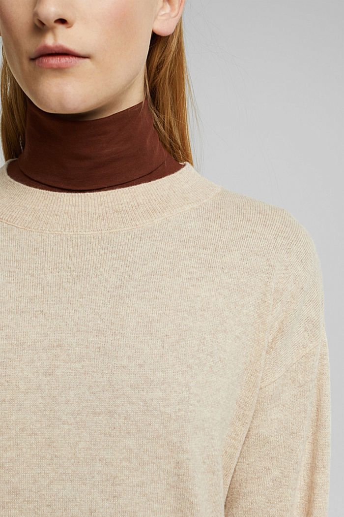 100% cashmere: jumper with balloon sleeves, BEIGE, detail image number 2