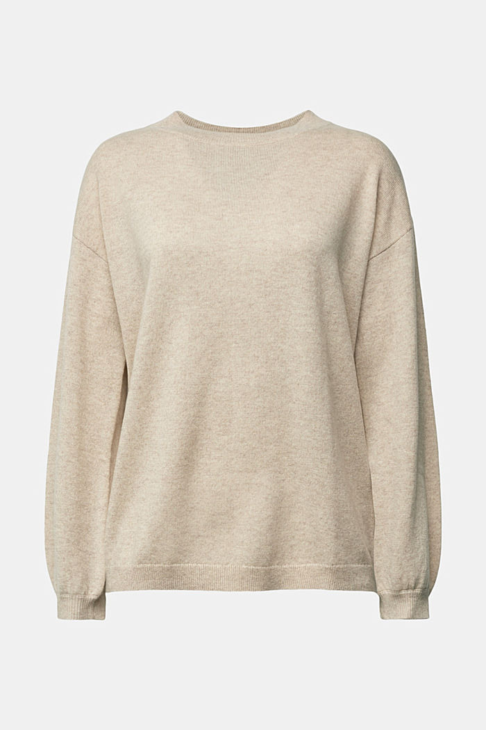 100% cashmere: jumper with balloon sleeves, BEIGE, detail image number 7