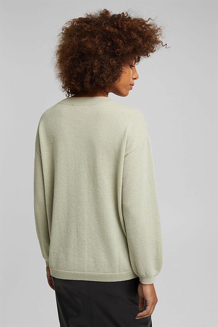 100% cashmere: jumper with balloon sleeves, PASTEL GREEN, detail image number 3