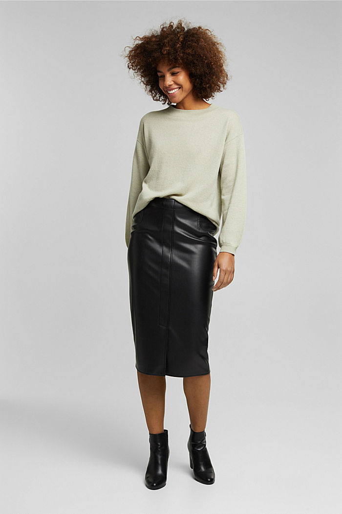 100% cashmere: jumper with balloon sleeves, PASTEL GREEN, detail image number 6