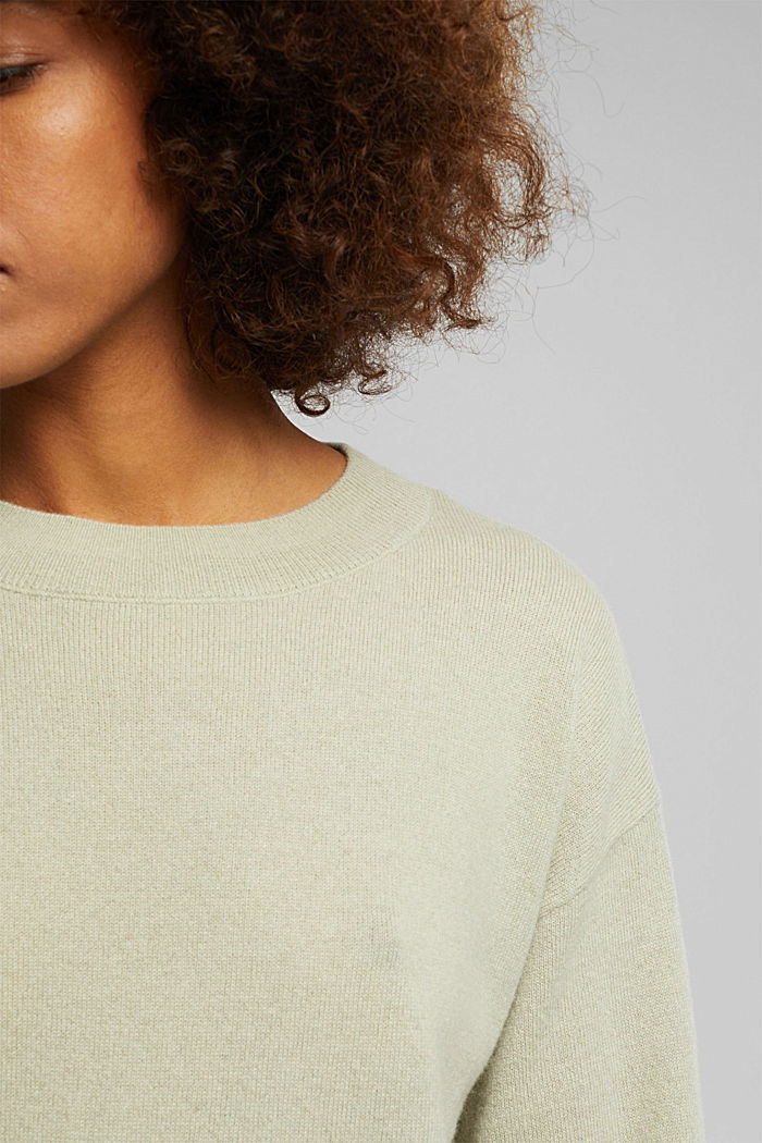 100% cashmere: jumper with balloon sleeves, PASTEL GREEN, detail image number 2