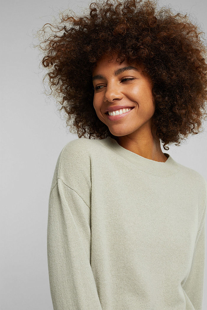 100% cashmere: jumper with balloon sleeves, PASTEL GREEN, detail image number 5