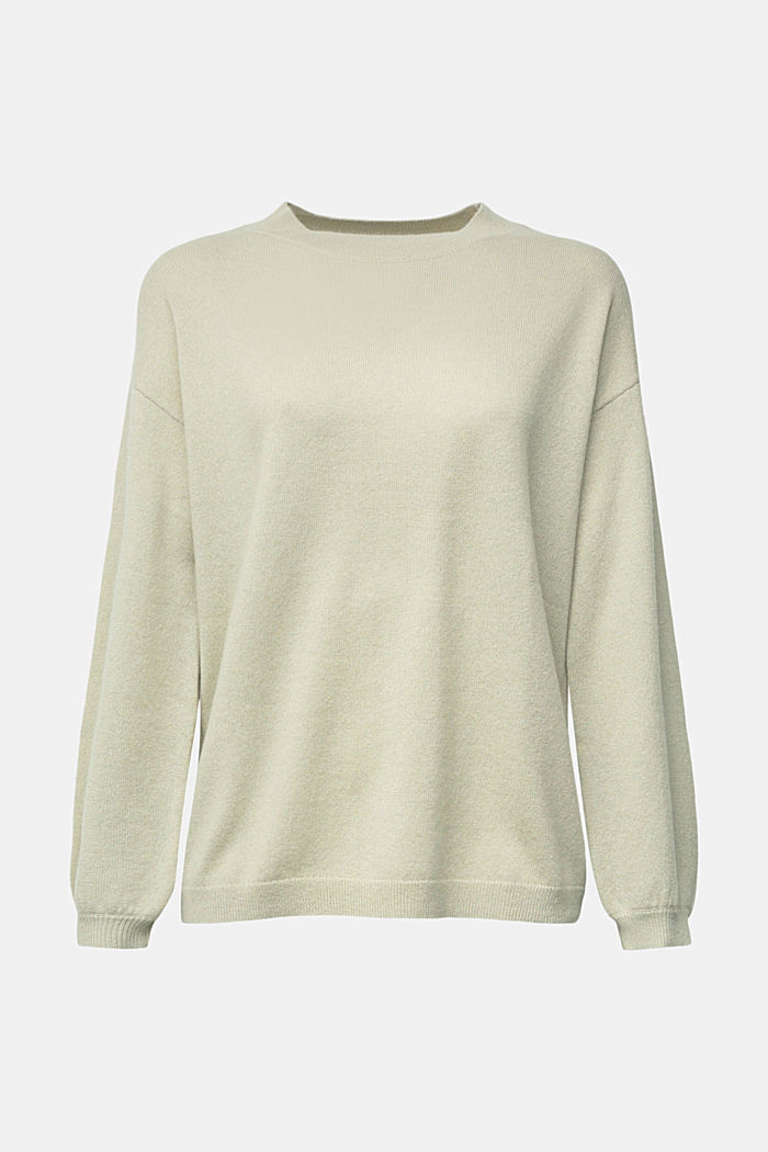 100% cashmere: jumper with balloon sleeves, PASTEL GREEN, detail image number 7