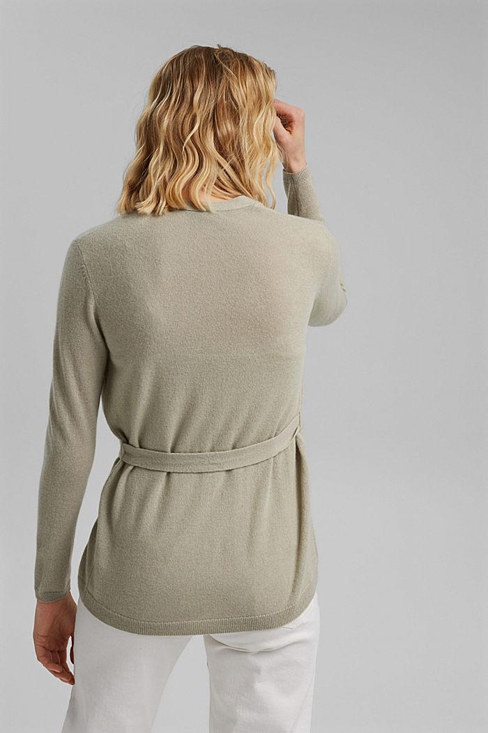 100% cashmere: Wrap cardigan, PASTEL GREEN, detail image number 3