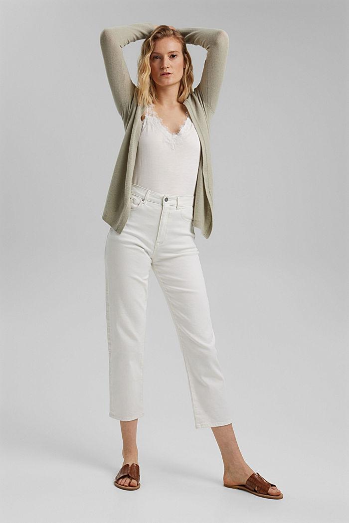 100% cashmere: Wrap cardigan, PASTEL GREEN, detail image number 1