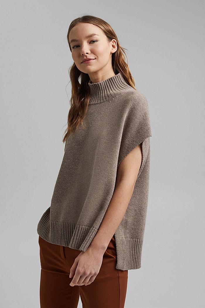 Con lana y cachemir: chaleco con cuello subido, BEIGE, detail image number 5