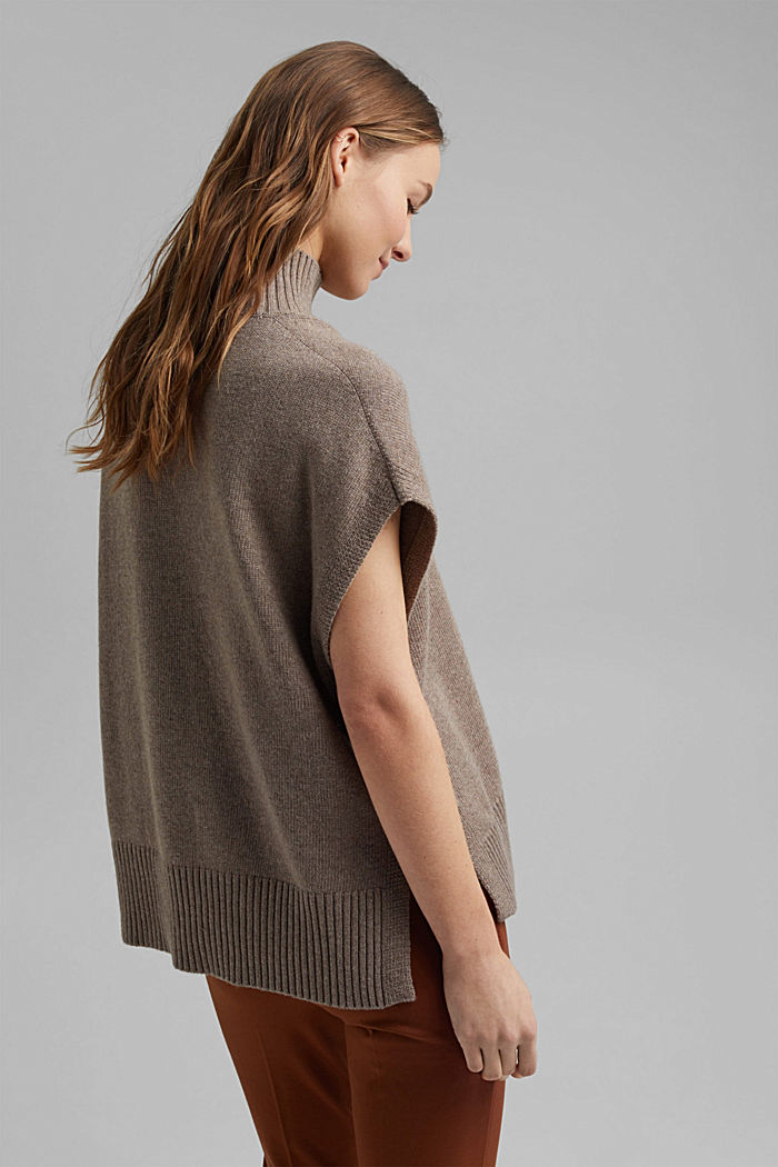 Con lana y cachemir: chaleco con cuello subido, BEIGE, detail image number 3