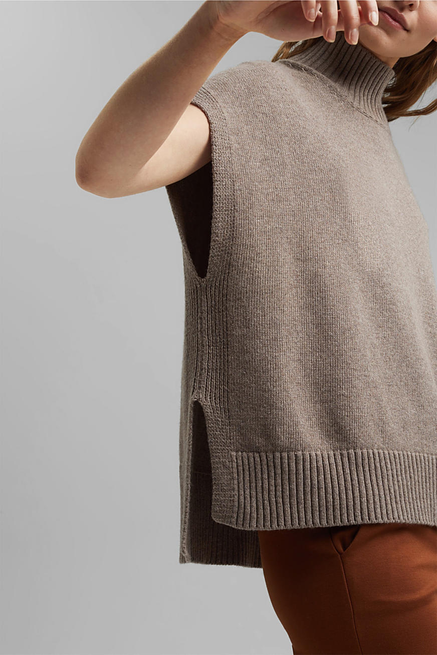 Wool/cashmere blend: mock neck tank top