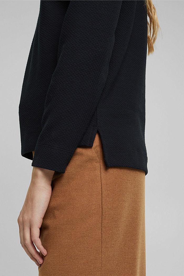 Sweat-shirt texturé, BLACK, detail image number 5