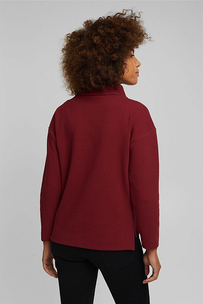 Textured sweatshirt, DARK RED, detail image number 3
