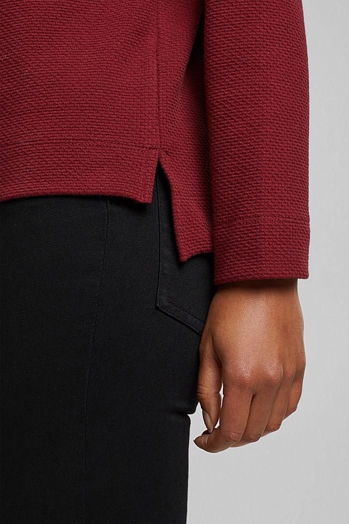 Textured sweatshirt, DARK RED, detail image number 5