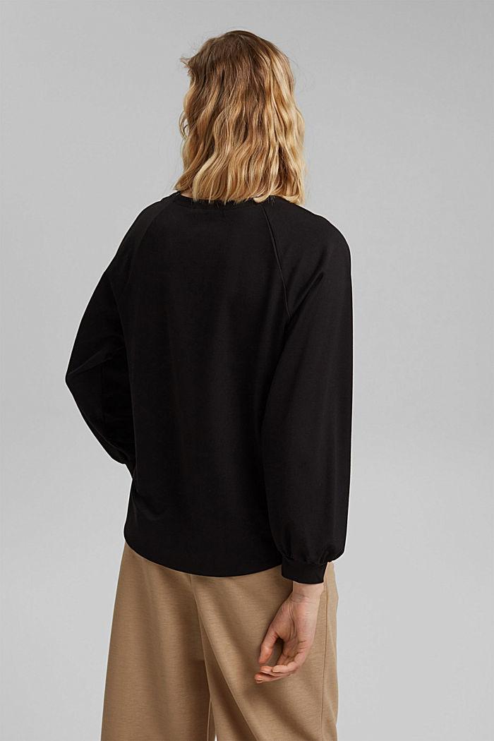 Sweatshirt with LENZING™ ECOVERO™, BLACK, detail image number 3